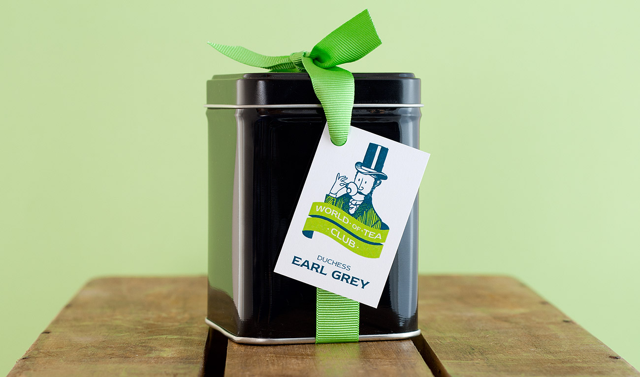 Decorative tea caddy and swing tag design