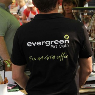 Evergreen Art Cafe Branded Clothing Design by Wetdog Creative in Cornwall