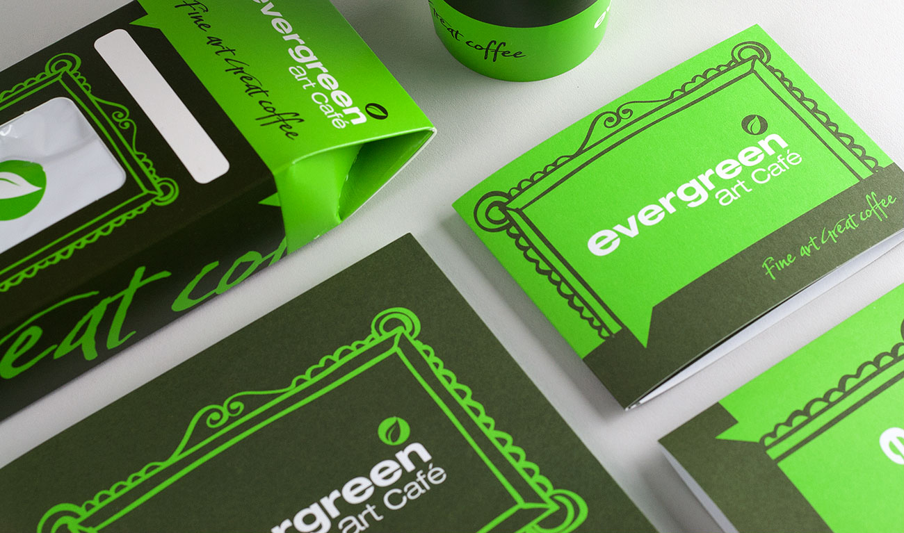Evergreen Art Cafe Design for Packaging