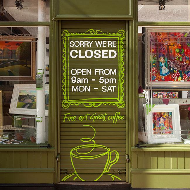 Evergreen Art Cafe Exterior Branded Signage