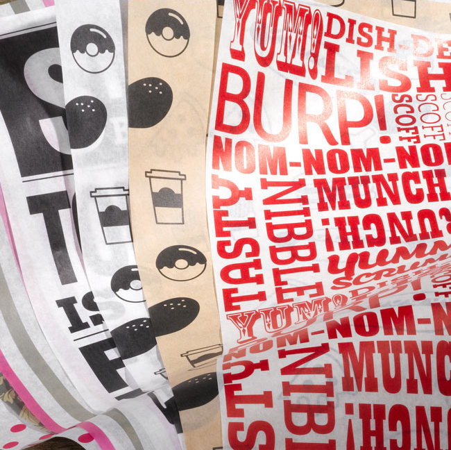 Illustrative food-safe greaseproof wrapping paper designs