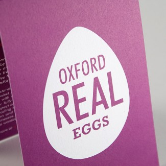 A6 folded two colour mailer design for Oxford Real Eggs by Wetdog Creative