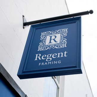 Shop exterior signage design for Regent Framing by Wetdog Creative