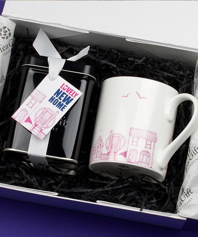 New Home mug and tea caddy gift set design
