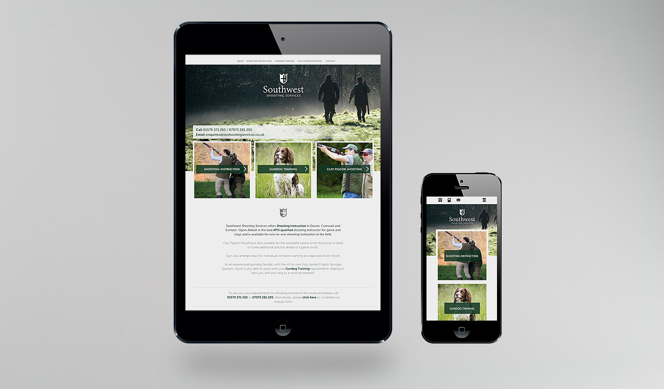 southwest shooting services website design by wetdog creative based in cornwall