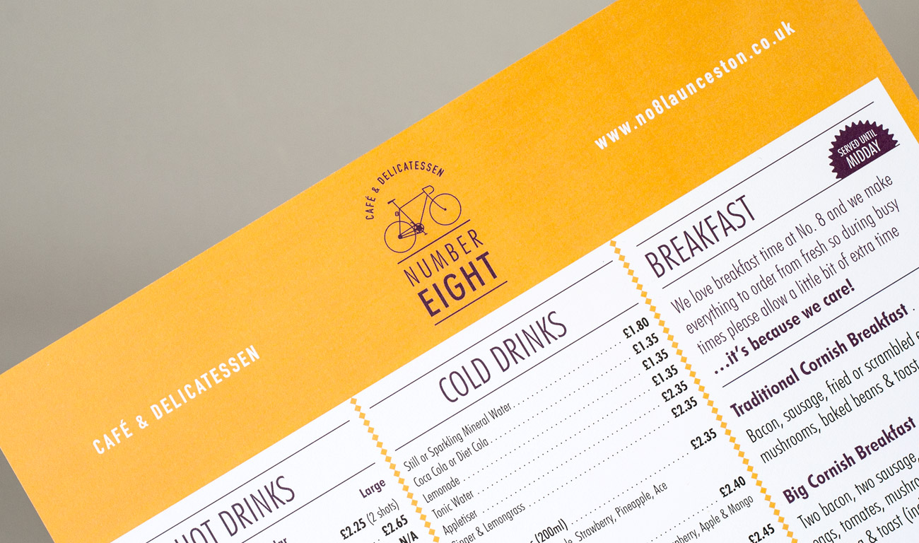 Number Eight Menu Graphic Design by Wetdog Creative near Launceston Cornwall