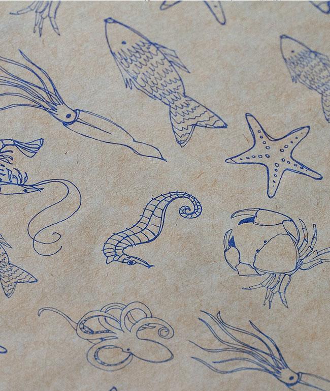 Illustrated Sharkskin Mevagissey food wrap