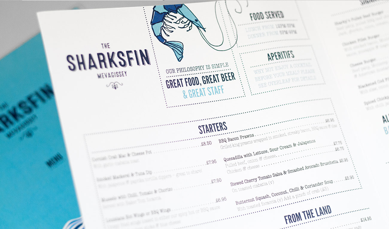 Sharkskin Mevagissey menu