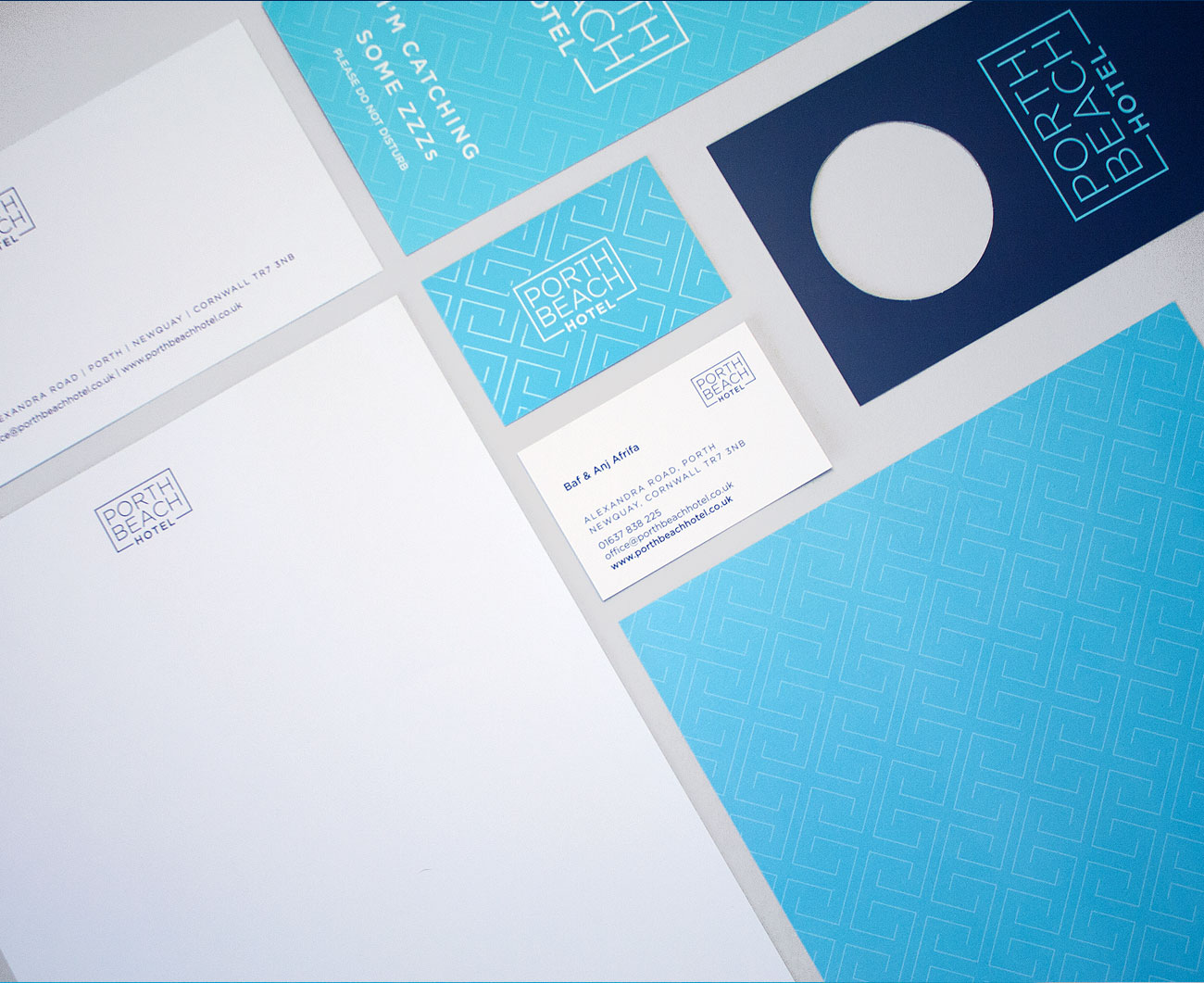 Porth Beach Hotel Stationery and print items