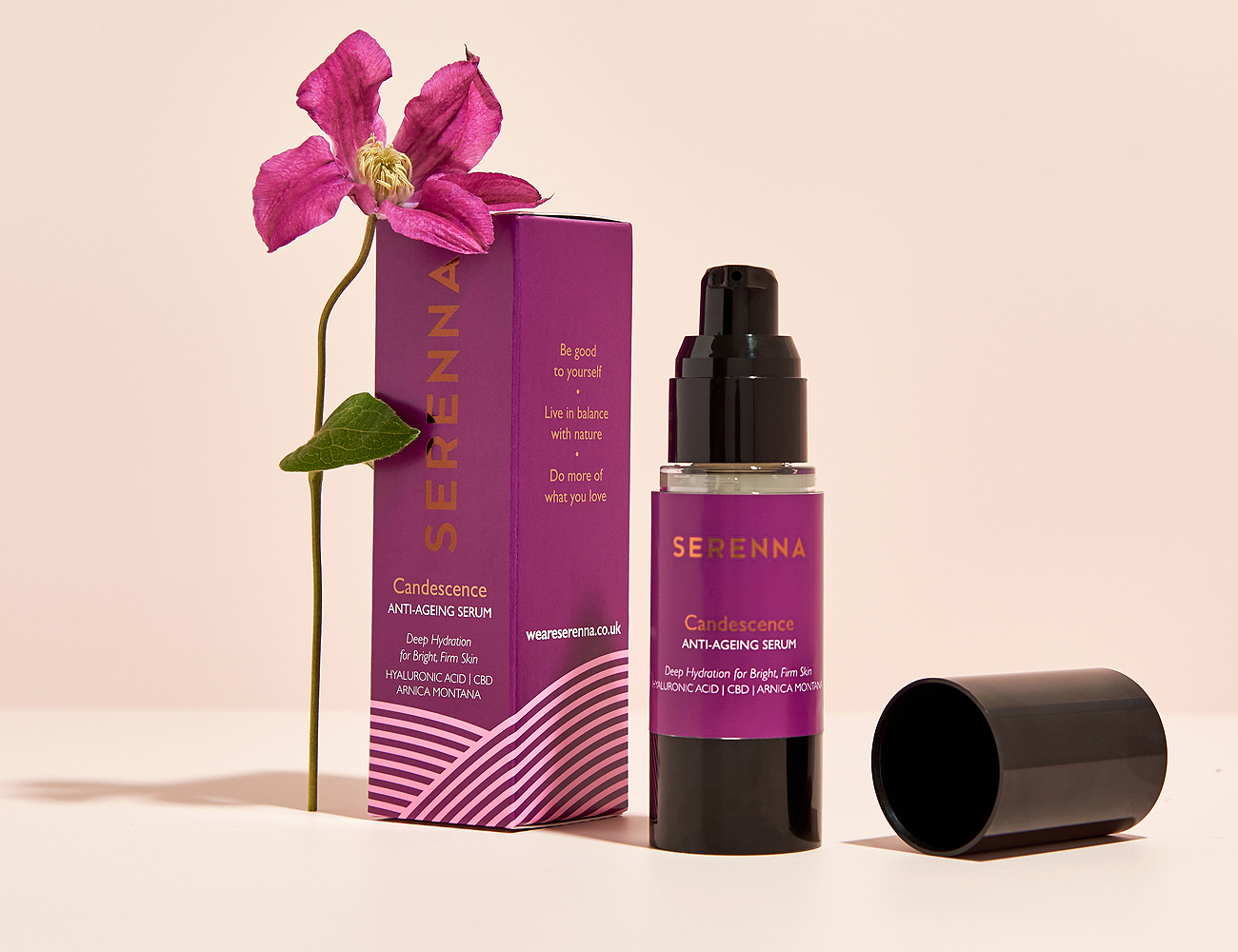 Serenna cosmetic face serum package design